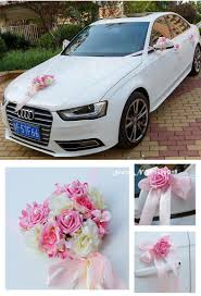new heart rose ribbon bowknot flower car wedding decoration