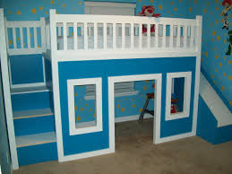 ana white playhouse loft bed with stairs and slide playhouse