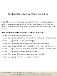 Cover Resume Examples by Top 8 Junior Executive Resume Samples 1 638 Jpg Cb U003d1431768513