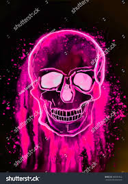 neon skull scary halloween unusual gothic stock illustration