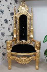 Throne Chair Throne Chair In Gold Leaf Black Velvet Buttons Great