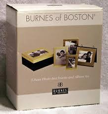 burnes of boston photo album brushed gold plated 5 photo box frame album set by burnes