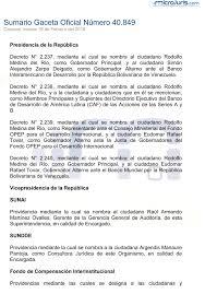 sumario gaceta oficial número 40 849 microjuris venezuela