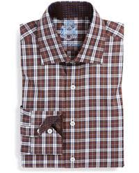 alfani red fitted brown and navy plaid performance dress shirt
