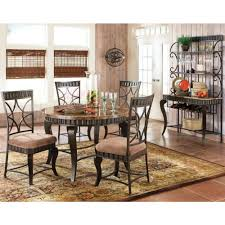 steve silver hamlyn marble top dining table set in spanish brown