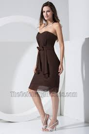 elegant chocolate chiffon knee length cocktail dress bridesmaid