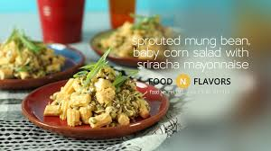 vegan sriracha mayo sprouted mung bean baby corn salad with sriracha mayo how to make