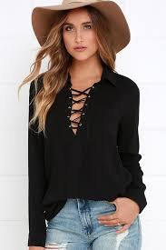 sleeve lace blouse lace up top sleeve top black shirt 54 00