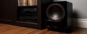 powered home theater subwoofer fluance db10 10 inch low frequency powered subwoofer walnut