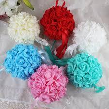 10pcs14cm foam flower ball artificial rose hanging kissing balls