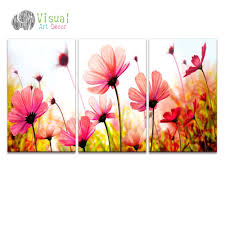 online shop 3 piece free shipping modern wall painting pink poppy
