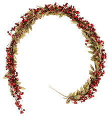 Pre Decorated Artificial Christmas Wreaths by Festive Red Berry And Holly Leaves Artificial Christmas Garland