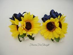sunflower ribbon 2 sunflower corsages with navy ribbon yellow and blue