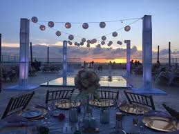 rock cancun wedding wedding reception setup at sunset terrace at rock cancun