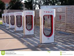 electric cars charging tesla electric car charging station editorial photo image 58040546