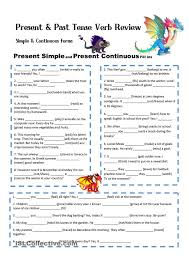 printable worksheets english tenses all present and past tenses test in simple and continuous form with