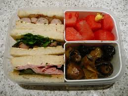 bentley watermelon bento u2013 sandwiches onions and mushrooms watermelon the food