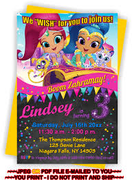 you print shimmer and shine birthday invitation shimmer and