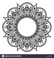mehndi lace indian henna tattoo round design or pattern vector