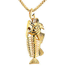 gold mens necklace pendants images Fashion jewelry men necklace stainless steel fish bone necklaces jpg