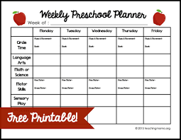 Free Printable Worksheets For Preschool Teachers Weekly Preschool Planner Free Printable Jpg