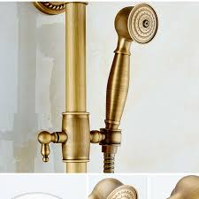 brass antique bathroom two handle shower thermostatic faucet set