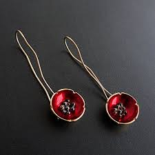 poppy earrings poppy earrings enamel earrings solid sterling