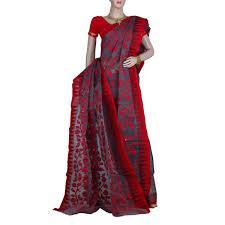 dhakai jamdani gorgeous grey dhakai jamdani saree with floral motifs on and