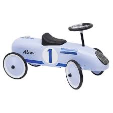 car toy blue retro style ride on racing car free giant white bow by oskar