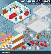 Home Plan 3d by Isometric Home Plan 3d Vector Creation Stock Vector 329044643