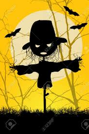 ilustrated spooky halloween scarecrow and bats background royalty