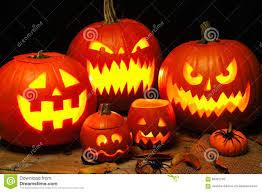 halloween night scene with illuminated jack o lanterns stock photo