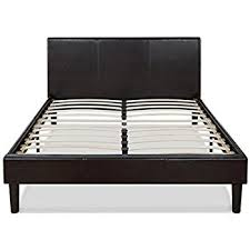 amazon com zinus deluxe faux leather upholstered platform bed