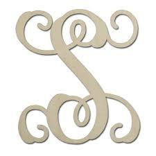 monogram letter s 12 unfinished mdf monogram letter s