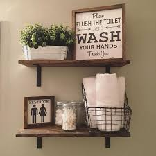 bathroom shelf decorating ideas open shelves farmhouse decor fixer style wood signs