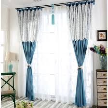 Blue Window Curtains Quality Blue Window Curtains With White Lace