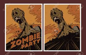 halloween poster zombie party invitation set royalty free