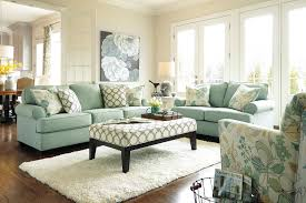 Aqua Table L Charming L Shaped Living Room With Aqua Blue And Floral Pattern