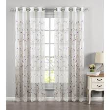Lilac Curtains Window Elements Sheer Wavy Leaves Embroidered Sheer Lilac Grommet