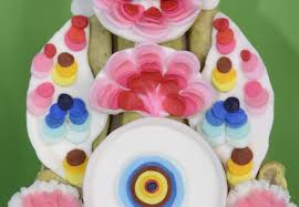 half circular butter ornament zla gam dkar rgyan ཟ གམ