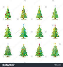 christmas tree flat design collection set stock vector 701590084
