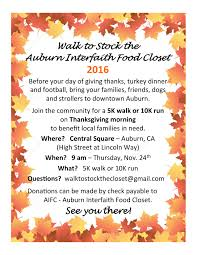 thanksgiving day 10k visit auburn california walk to stock the closet 2016 visit