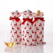 reindeer fabric wine bags set of 3 and graham