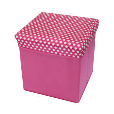 universal polka dot collapsible storage ottoman seat footstool