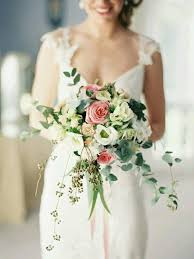 wedding flowers eucalyptus free form wedding bouquet featuring pink roses white anemones