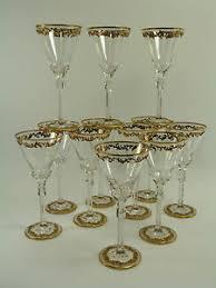 bicchieri boemia cristallo boemo set di 12 antico gilded bicchieri da vino tipo