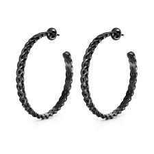 black hoop earrings apeiron black plated hoop earrings folli follie