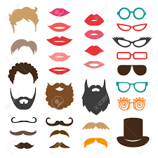 hair style photo booth set of mustache beards haircuts lips and sunglasses birthday