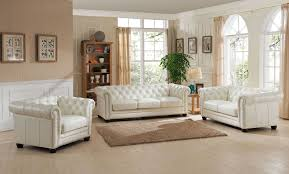 Genuine Leather Living Room Sets Furniture Monaco Pearl White Leather Living Room Set Cozy White