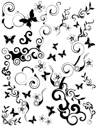 various swirling foliage butterfly designs black on a white